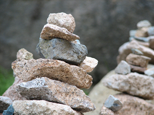 Stone piles at Buddhist temple